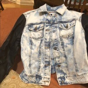 Cute denim and faux leather jacket